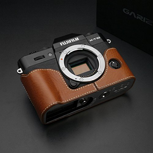 Gariz XS-CHXT10CM Genuine Leather Camera Metal Half Case for Fuji Fujifilm X-T20 XT20 XT10, Camel Brown by Gariz