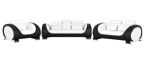 Design Kunstleder Wohnlandschaft Sitz Couch Garnitur Sofa 3 2 1 Sessel  Polster Schwarz Weiss