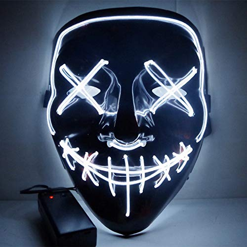 Goodlife Store HOT Bonus - Set of 6-1 Select Color and 5 Random Color - Set of 6 Halloween Mask LED Light up Purge Mask, The led mask (8 Option Color)