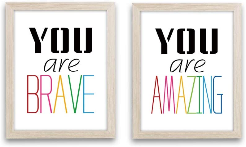 """Framed Inspirational Watercolor Words Art Print Set of 2 (10""""X8"""")-Ready to Hang Minimalist Typography Wall Poster,Motivational Quotes Canvas Artwork for Teens Bedroom Classroom"""