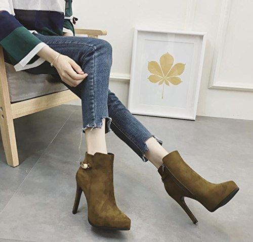 KHSKX-La Decoración De Metal Verde Botas De Invierno Nuevo Satén La Punta De Un Lado Cremallera Impermeable Detalle Con El Alto Heel Shoes 39