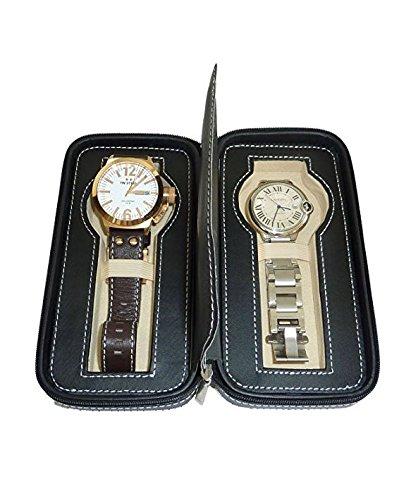 81869860809c Amazon.com: Two 2 Piece Zippered Watch Travel Case Black Interior ...