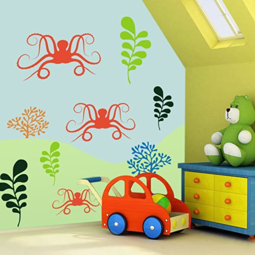 Ocean Friends Decal Under the Sea Wall Quote for Nautical Theme Nursery Kids or Childrens Room Decor 3(octopuses:Orange;left sea grass:Lime-tree Green;right sea grass:Dark Green;right coral:Dark Yellow;left coral:Medium Blue)