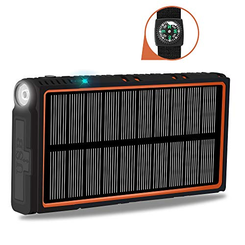 soyond Solar Power Bank-15000 mAh Portable Solar Battery Phone Charger Dual USB Waterproof 2 Led Light Flashlight with Compass for Camping Outdoor Hiking for Smartphones (Orange) by soyond (Image #8)