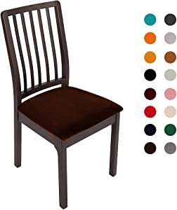Soft Velvet Dining Room Chair Seat Covers, Stretch Spandex Fitted Dining Chairs Cover, Removable Washable Upholstered Slipcovers with Ties - Set of 4, Coffee