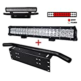 "Liteway 20"" inch 126W CREE LED Light Bar + 23Inch License Plate Holder Universal Aluminum Light Bar Mount Bull Bar Style Front Bumper Number Plate Frame for Off Road LED Work Light Bar, 1 Year Warranty"
