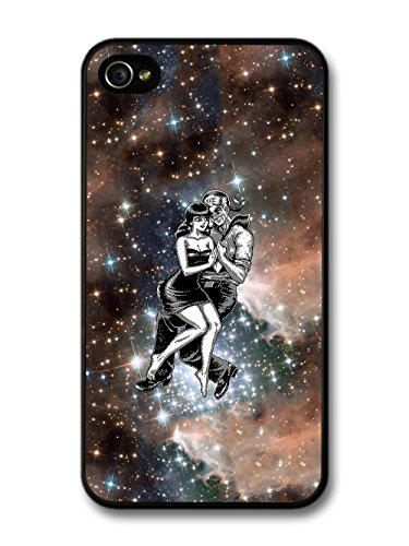 Cool Cute Pixel Lovers in Space Design with Galaxy and Black and White Art case for iPhone 4 4S