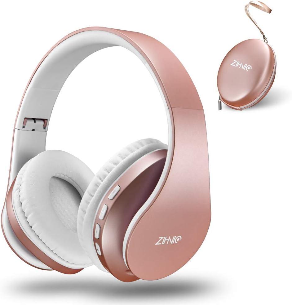 zihnic Auriculares Bluetooth Inalambricos, Cableados con Micrófono Plegables Estéreo Cascos Inalambricos Bajos Profundos para TV/PC/Teléfonos Celulares, Diadema con Orejeras Confortables-Oro Rosa