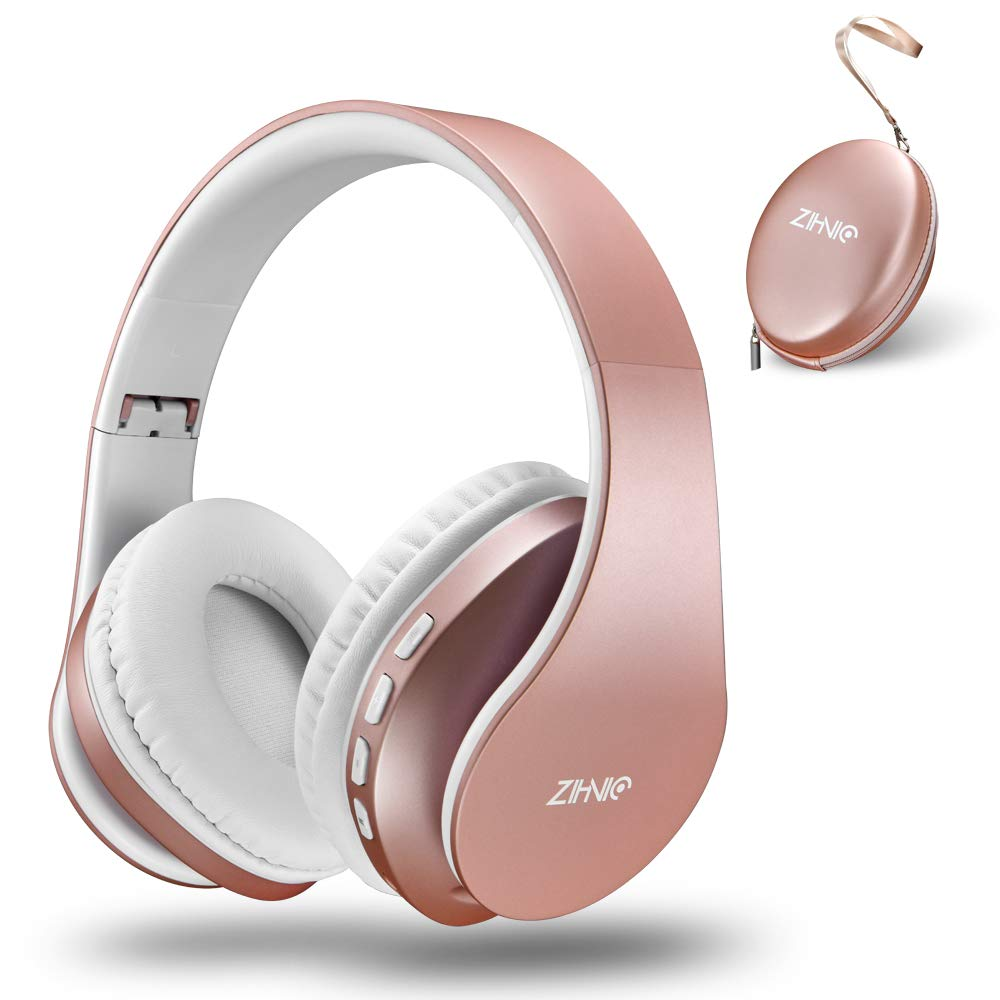 Bluetooth Over-Ear Headphones, Zihnic Foldable Wireless and Wired Stereo Headset Micro SD/TF, FM for Cell Phone,PC,Soft Earmuffs &Light Weight for Prolonged Waring (Rose Gold) by zihnic