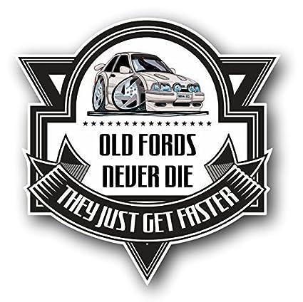 Dibujos animados de Koolart Viejos Vados Never Die Retro Ford Escort Mk4 RS Turbo vinilo adhesivo