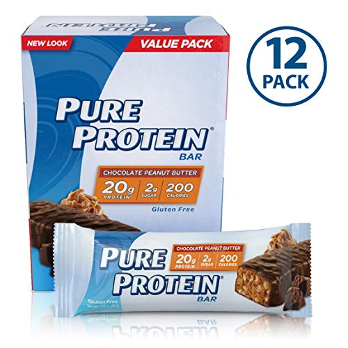 Protein Snack Bar - Pure Protein Bars, High Protein, Nutritious Snacks to Support Energy, Low Sugar, Gluten Free, Chocolate Peanut Butter, 1.76oz, 12 Pack