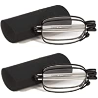 2 Pack Mens Womens Reading Glasses, Compact Folding Readers Reading Glasses with Glasses Case