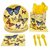 Blue Panda Butterfly Birthday Party Supplies Pack - Serves 24 - Includes Knives, Spoons, Forks, Plates, Napkins, and Cups