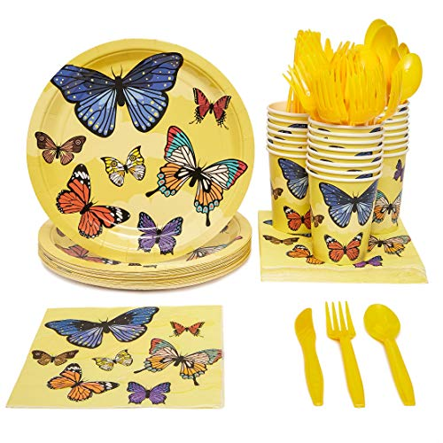 Blue Panda Butterfly Birthday Party Supplies Pack - Serves 24 - Includes Knives, Spoons, Forks, Plates, Napkins, and Cups (Fold Napkin Butterfly)