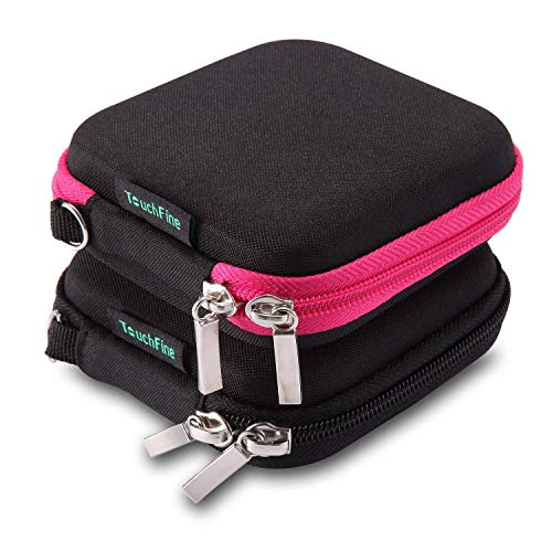 TouchFine (2Pack) Hard EVA Carrying Case for iPod/MP3/Earphones/Usb Cable 2 Mesh Pockets Storage Bags-Black+Black/Hot Pink (Ipod Shuffle Black)
