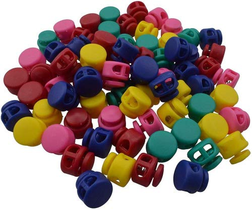 Multicolor Spring Cord Lock, Drawstring Toggle Stoppers, Fastener Slider, Double Holes, 100 Counts by CSPRING