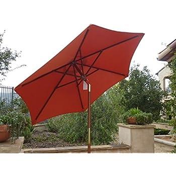 amazon com 7ft wooden market umbrella with tilt mechanism terra