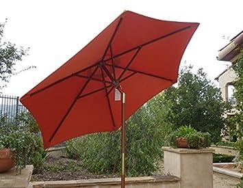 7ft Wooden Market Umbrella With Tilt Mechanism   TERRA COLOR