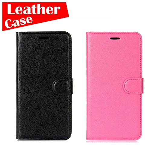 Samsung Galaxy J7 2016 Case J710 Case, 2 Pack case [Black+Rose red] [eBuyLife] Phone Case, Leather Wallet Slim Soft Folio Cover Credit Card Slots Cash Clip Stand Holder Magnetic - Charge Cover Liv