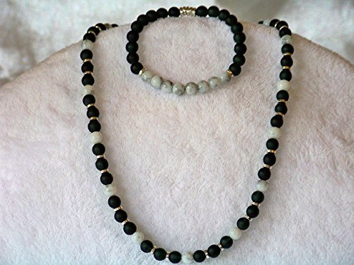 Peace Onyx - Peace | Men's Necklace and Bracelet | Features Onyx, Dalmation Jasper, Ruthenium | Heirloom Quality | One of a Kind: Once sold, no other will be available