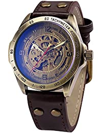 Vintage Bronze Case Automatic Mechanical Skeleton Brown Leather Band Men's Sport Watch PMW368
