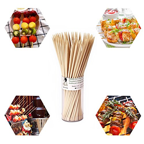 Natural Bamboo Skewers 6 Inch for Appetizer, Cocktail, Kabob, Chocolate Fountain, Fruit. Premium Barbecue Tools - No Splits and Debris, Suitable for Kitchen, Party, Grilling. 600 PCS (3 Packs of 200) by TONGYE (Image #1)