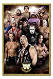 WWE Legends Poster Oak Framed & Satin Matt Laminated - 96.5 x 66 cms (Approx 38 x 26 inches)