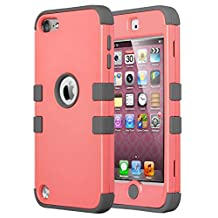 iPod Touch 6 Case,iPod Touch 5 Case,ULAK 3in1 Anti Slip iPod Touch Case Hybrid with Soft Flexible Inner Silicone Skin Protective Case Cover for Apple iPod Touch 5 6th Generation(Coraly Pink + Gray)