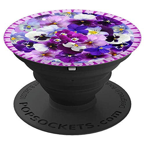 Colorful Pansies with Lace in Purples and Blues - PopSockets Grip and Stand for Phones and Tablets