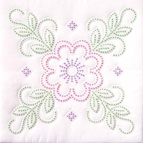 - Jack Dempsey Needle Art 73297 XX Floral Design 6-Quilt Block, 18-Inch by 18-Inch, White