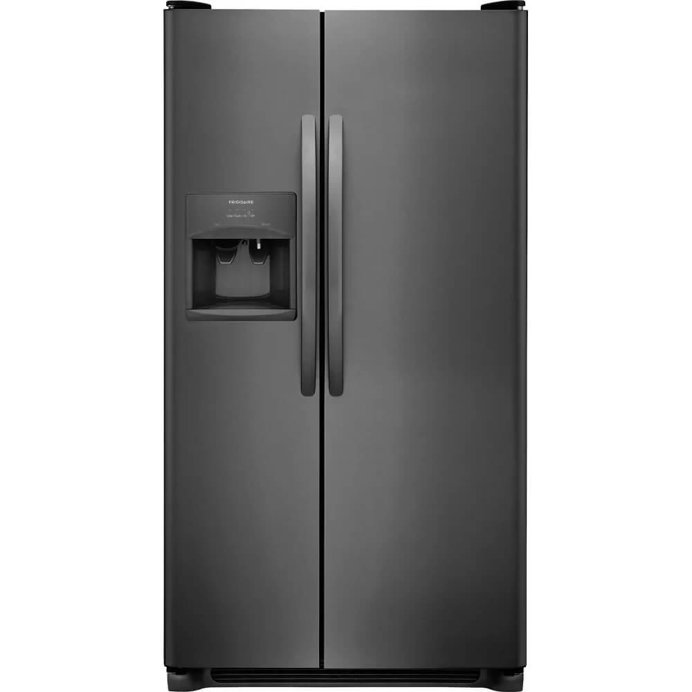 Frigidaire FFSS2315TD 33 Inch Freestanding Side by Side Refrigerator with 22.1 cu. ft. Capacity, in Black Stainless