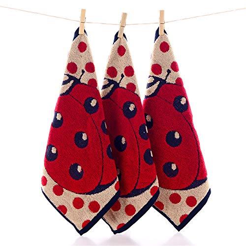 Wanrane Shower Mat Anti Slip Mat 1PC Kids Sport Absorbent Bath Linen Cartoon Ladybug Dot Square Cotton Hand Towel (Color : Red)