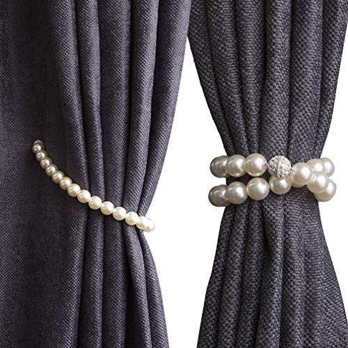 Pearl Magnetic - Valea Home Magnetic Curtain Tiebacks Decorative Pearl Bead Curtain Holdbacks Clips Elegant Window Draperies Rope Ties, White, Set of 2