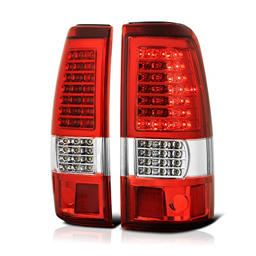 [Full-LED] VIPMotoZ 1999-2002 Chevrolet Silverado & 1999-2006 GMC Sierra 1500 2500 3500 LED Tail Lights - Metallic Chrome Housing, Rosso Red Lens, C-Shape Parking Lamp, Driver and Passenger (Gmc Sierra Fleetside Led Tail)