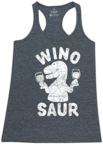 Shop4Ever Wino Saur Women's Racerback Tank Top Funny Tank Tops Small Charcoal 0
