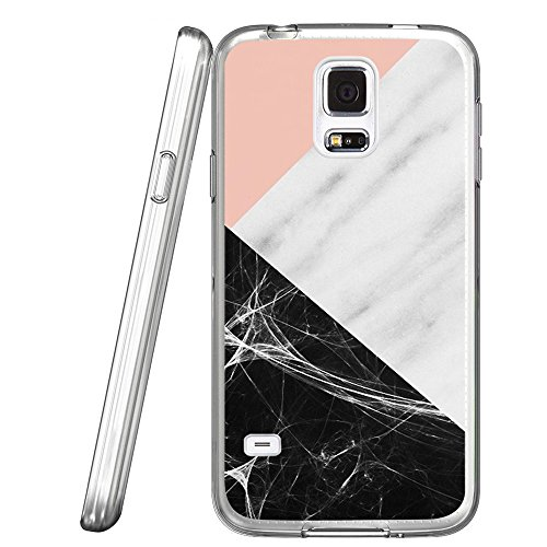 - S5 Case Pink marble patchwork design, LAACO Scratch Resistant TPU Gel Rubber Soft Skin Silicone Protective Case Cover for Samsung Galaxy S5