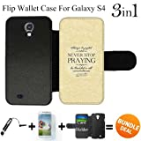 Thess 5 16 Bible Verse Custom Galaxy S4 Cases Flip Wallet Case,Bundle 3in1 Comes with Screen Protector/Universal Stylus Pen by innosub