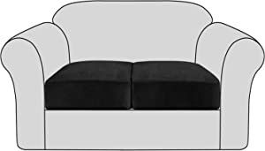 H.VERSAILTEX Velvet Stretch Couch Cushion Cover Plush Cushion Slipcover for Chair Cushion Furniture Protector Seat Cushion Sofa Cover with Elastic Bottom Washable (2 Packs, Black)
