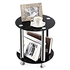 TAVR End Table,Sofa Table,Night Table,Coffee Table,with Safty Tempered Glass Shelves Round ET1001