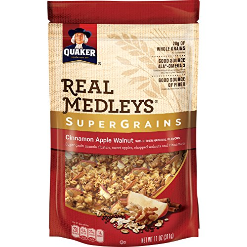 Quaker Real Medleys Super Grains Granola, Cinnamon Apple, 6 Count (11 oz Pouches)