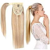 14 Inch Long Straight Ponytail Human Hair Extension Mixed Color