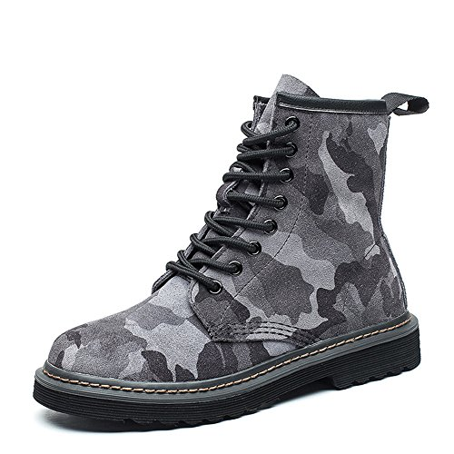 Modemoven Women's Round Toe Lase-up Ankle Boots Ladies Leather Combat Booties Fashion Martens Boots Gray Camouflage