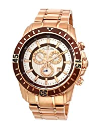 Porsamo Bleu Grand Prix Noir Stainless Steel Rose Tone & Brown Men's Diamond Watch 091CGPS