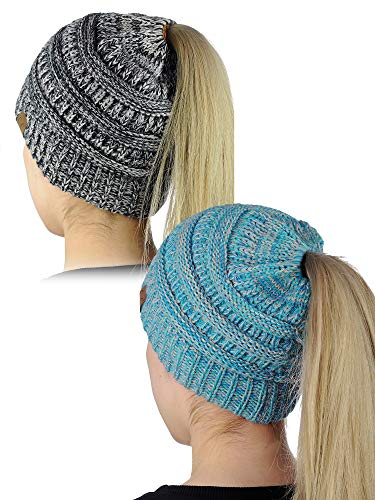 C.C BeanieTail Soft Stretch Cable Knit Messy High Bun Ponytail Beanie Hat, 2 Pack, Turquoise Mix/3 Tone Gray