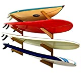 Timber Surfboard Wall Rack - 4 Surfboards Storage - Wood Home & Garage Surf Mount Brackets
