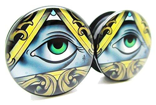 Eye of Illuminati Ear Plugs - Acrylic - Screw on - NEWPair (1