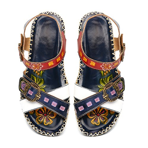 gracosy Women Sandals Wedged Slides Sandals Vintage Handmade Leather Flats Shoes Casual Comfort Mary Jane Loafers Flat Summer Sandals Flower Splicing Bohemian Outdoor Walking Shoes Blue xf5bv