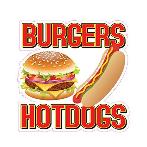 Burgers Hotdogs Concession Restaurant Food Truck Die-Cut Vinyl Sticker 10 inches