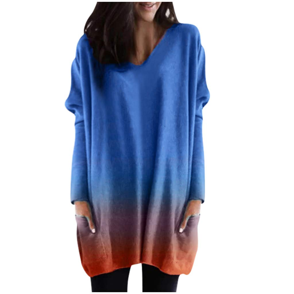 Shusuen Women Plus Size Long Sleeve Tunic Tops Loose Dyed Tied Shirt Pullover Sweatshirts with Pocket Blue by Shusuen_Clothes