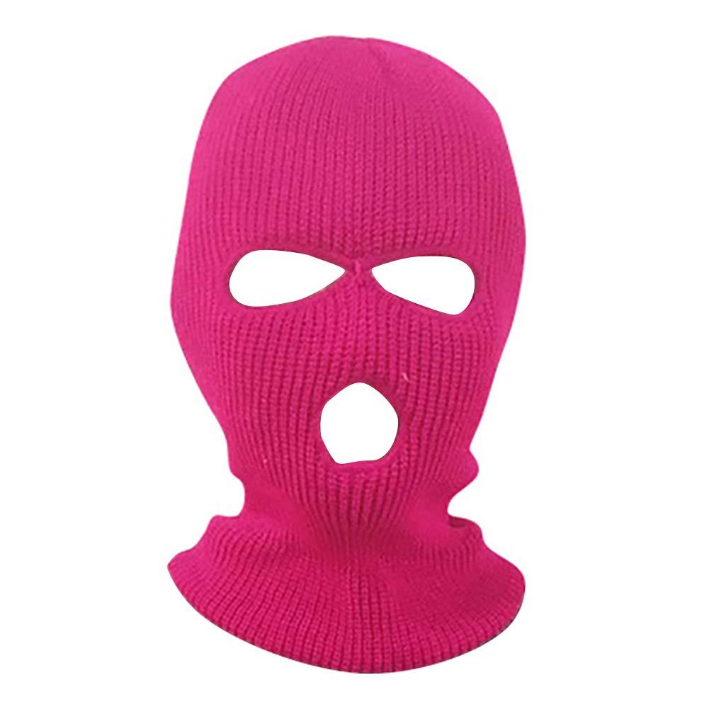 yanbirdfx Army Tactical Winter Warm Ski Cycling 3 Hole Balaclava Hood Cap Full Face Mask - Rose Red